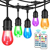 48FT Outdoor Patio Lights, RGB Cafe String Lights with 18 E26 S14 Shatterproof Edison Bulbs, Commercial Grade Dimmable String