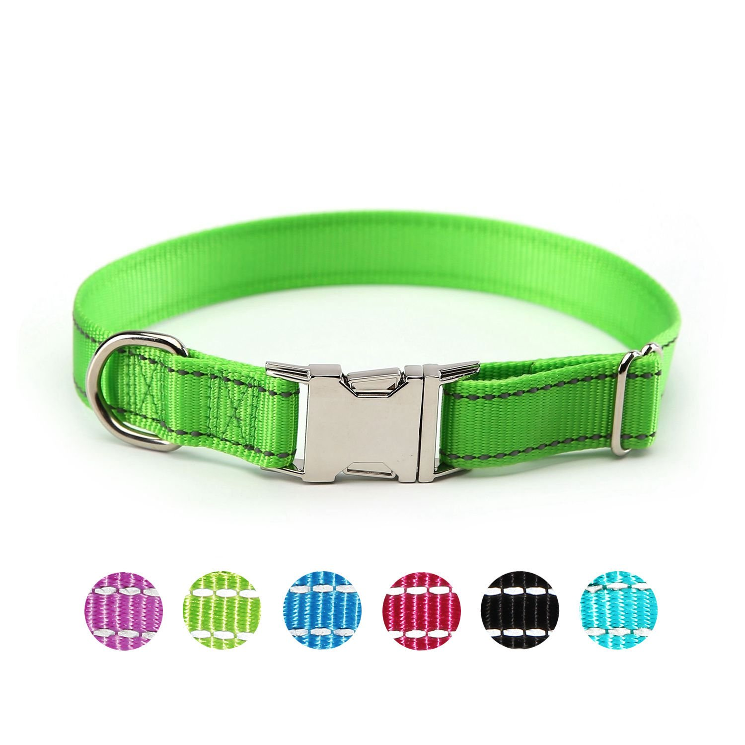 Lawngreen Large Lawngreen Large ComSaf Vivid Reflective Dog Collar with Metal Buckle for Large Dogs Lawngreen