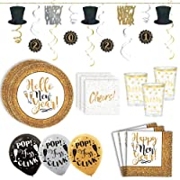 Gold and Black Happy New Year Set For 25 With Gold Plates, Cups, Napkins, Happy New year Hat Banner, 2021 Garland and Balloons