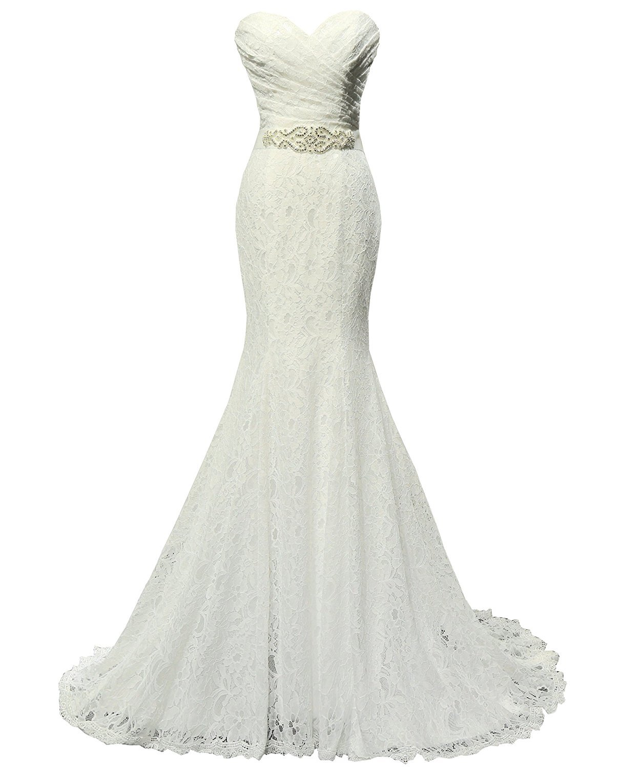 Solovedress Womens Lace Wedding Dress Mermaid Evening Bridal Gown With Sash