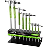 Powerbuilt 9 Pc Torx Star T-Handle Hex Allen Key Wrench Set w/ Speed Sleeves for Fast Spinning Action, Sliding Top Handle for