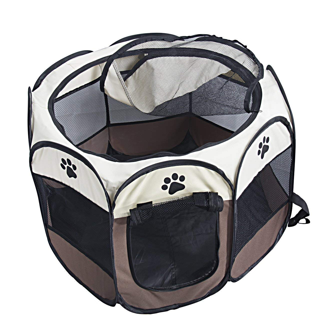 Brown SMOIMK Pet Portable Foldable Playpen, Exercise 8Panel Kennel Mesh Shade Cover Indoor Outdoor Tent Fence For Dogs Cats