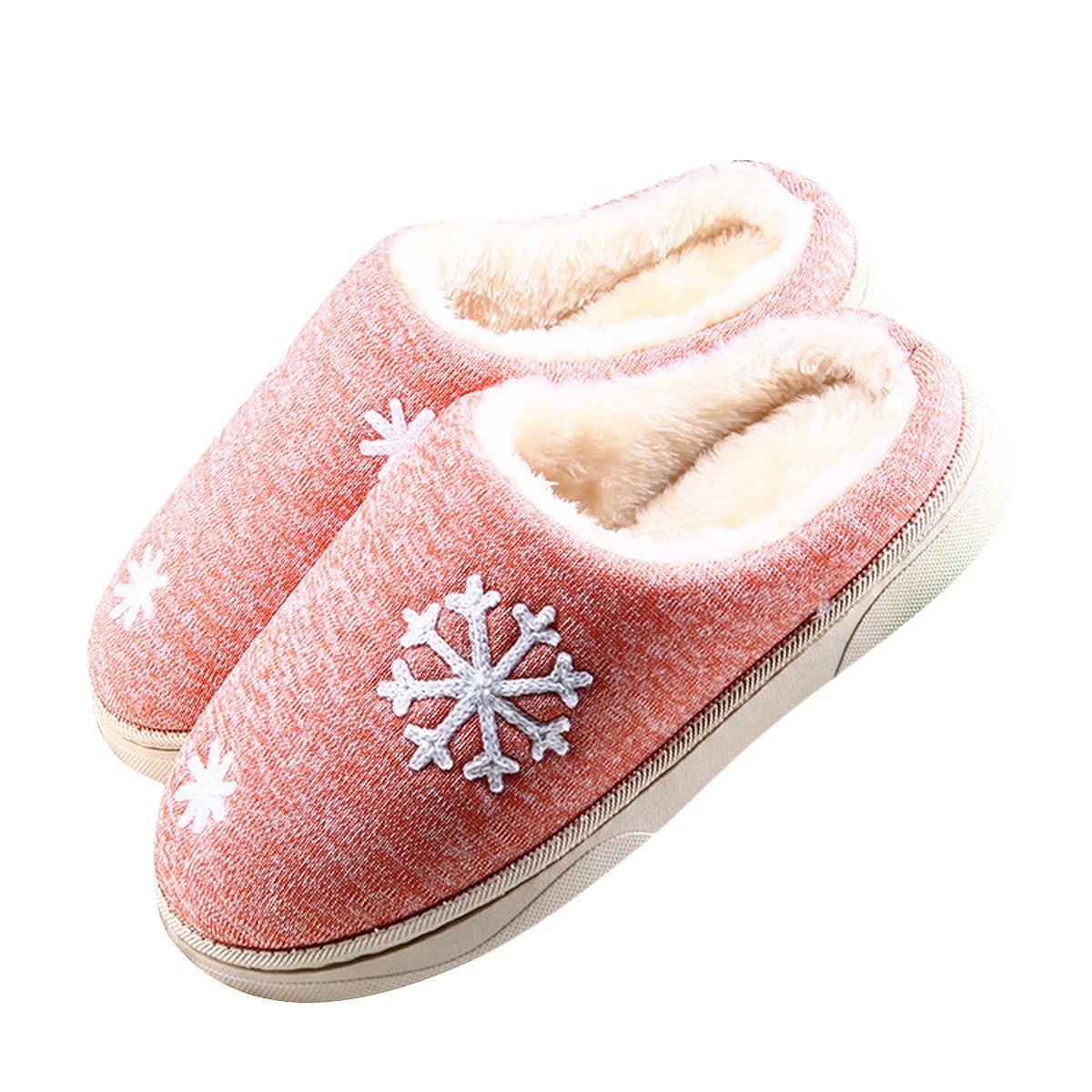 Butterme Coppie in inverno caldo peluche Pantofole fiocco di neve Pattern Mens Womens comodo interno antisdrucciolo camera da letto pantofole Arancia