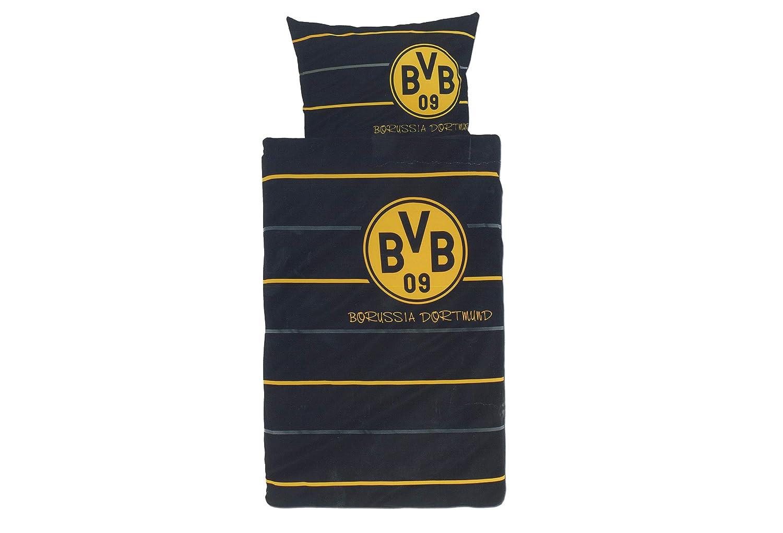BVB 09 Borussia Dortmund Bettwäsche, 1 x Kissenbezug 80 x 80 cm und 1 x Bettbezug 135 x 200 cm, 100 % Baumwolle mit Knopfleiste