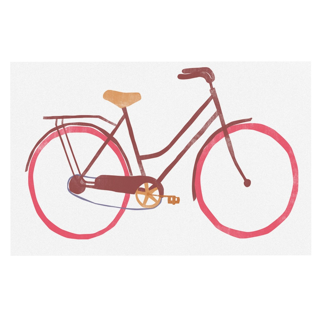 KESS InHouse Alik Arzoumanian BIKE  White Pink Dog Place Mat, 13 x18