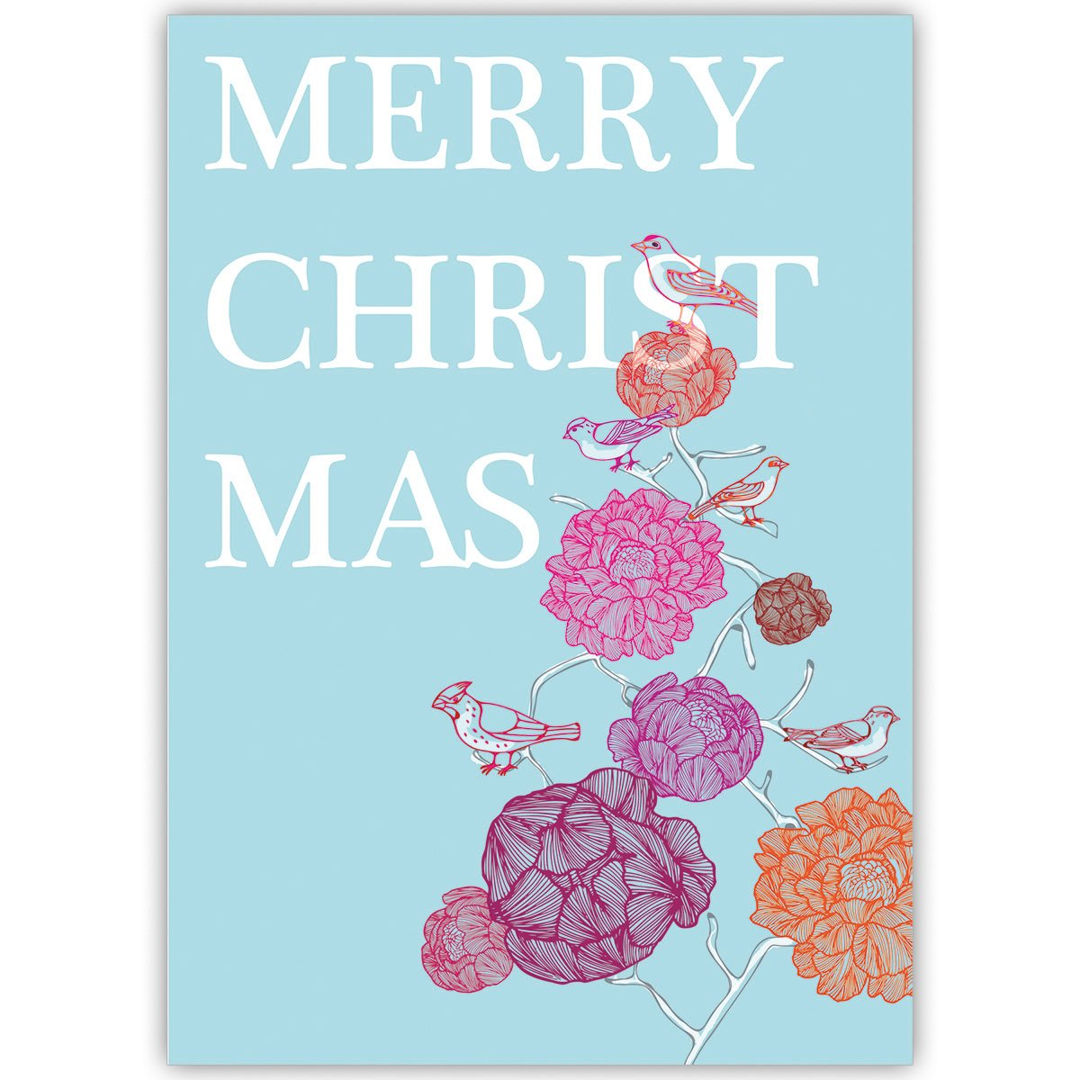 20er 20er 20er Set Schöne Unternehmen Weihnachtskarten mit Vogel Blüten Weihnachtsbaum, mit ihrem Innentext (Var3) drucken lassen, als geschäftliche Weihnachtsgrüße   Neujahrskarte   Firmen Weihnachtskarte für Kunden, Geschäftspa b22d9f