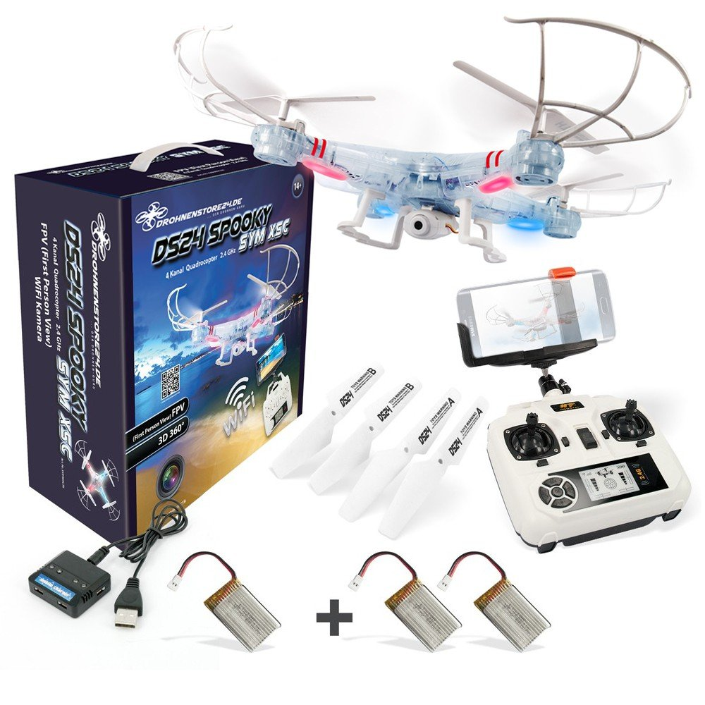 DROHNENSTORE24.DE ...DER DROHNEN-GURU DS24 Anfänger Drohne Spooky SYM X5C WiFi Quadrocopter inkl. 3 Akkus FPV Design Transparent