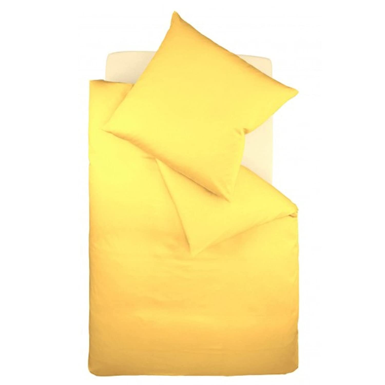 Fleuresse Mako-Satin-Bettwäsche colours gelb 2006 Größe 155 x 220 cm + 80 x 80 cm Kissenbezug