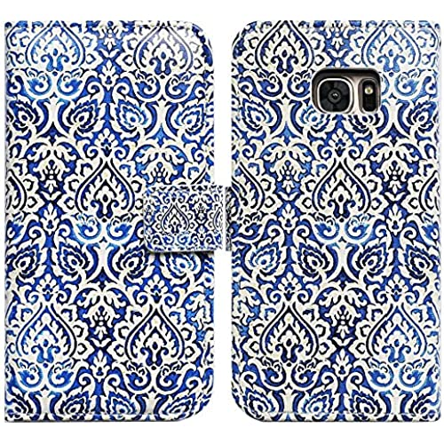 Bfun Packing Bcov Blue Floral Flower Card Slot Wallet Leather Cover Case For Samsung Galaxy S7 Sales