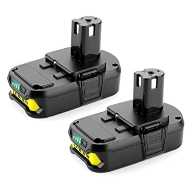 Powilling 2Pack 2500mAh Ryobi 18V Lithium Battery Pack Replacement for Ryobi 18-Volt ONE+ P104 P105 P102 P103 P107 Cordless Tools Battery