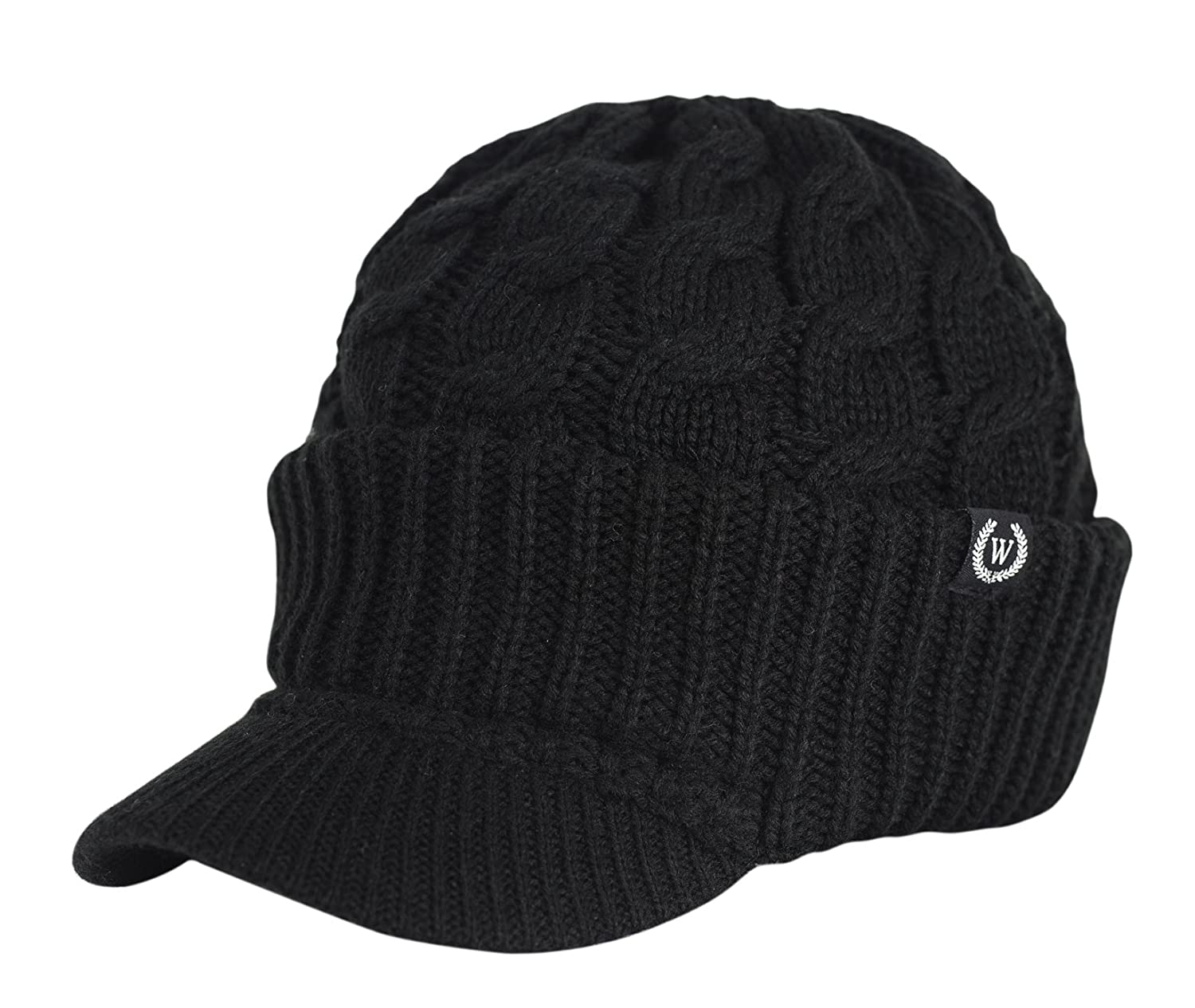 Newsboy Cable Knitted Hat with Visor Bill Winter Warm Hat for Women in Black, Charcoal, Dark Brown, Hot Pink, Red, White