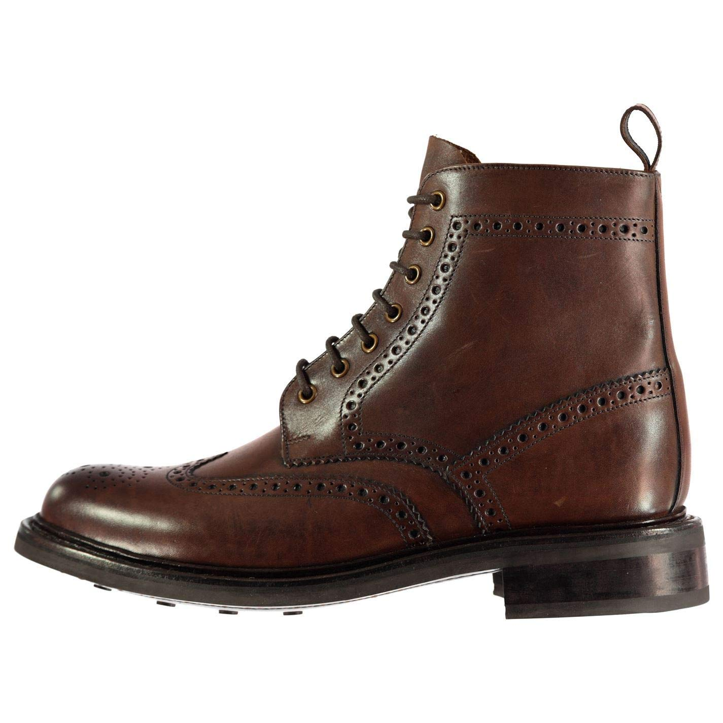 Brown Firetrap Blackseal Arnold Brougue Ankle Boots Mens Brown shoes Footwear