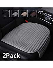 Suninbox Car Seat Covers Front Seats Only,2 Pack Car Seat Cushion Buckwheat Hulls,Bottom Seat Cover,Universal Leather Car Seat Protector for Automobiles(2PC Gray Front Seat)