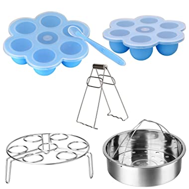 Accessories Set Compatible Instant Pot-Fits 5,6,8Qt Instant Pot Pressure Cooker,6 Pcs with Silicone Egg Bites Mold×2,Steamer Basket,Egg Steamer Rack,Silicone Spoon and Bowl Clip,Steamed Out Health