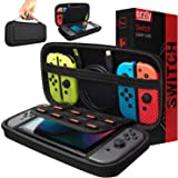 Orzly Carry Case Compatible with Nintendo Switch - Black Protective Hard Portable Travel Carry Case Shell Pouch for Nintendo