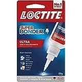Cola Loctite Super Bonder Ultra, Cola instantânea para reparos de alta qualidade, Cola transparente para materiais diversos,