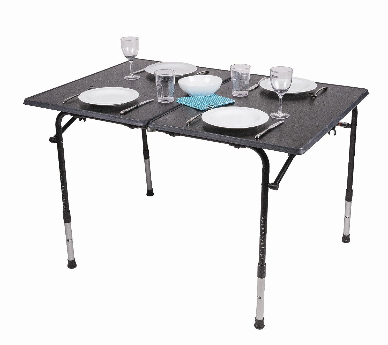 Kampa HI-LO PRO großes Premium Faltbarer Camping Tisch mit verstellbaren Beinen