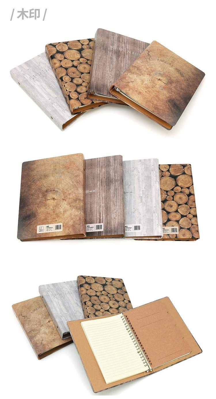 YWHY Cuaderno Loose-Leaf Beige Paper 100 Pages Notebook Wood Printing A4 Large Notebook Pages Notebook Business Office,C 1f4eba