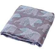 LifeTree Muslin Swaddle Blankets - 47 x47  Soft Muslin Bamboo Cotton Bear Baby Blanket for Boys & Girls Baby Shower Gift