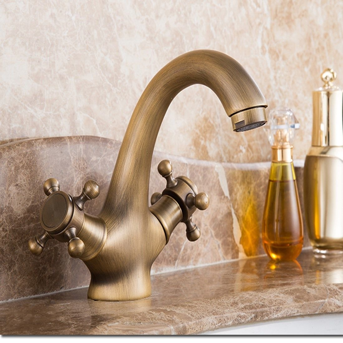 NewBorn Faucet Water Taps Hot And Cold Water Antique Water Tap Hot And Cold Basin Sink Vanity Antique Copper Basin-Wide Bench Table Basin