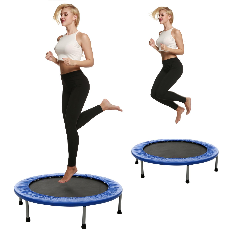Begorey Fitness Sport Trampolin Faltbar Gartentrampolin bis 150 kg Jump Trampolin Garten Indoor Ausdauertraining Trampolin Durchmesser  102cm
