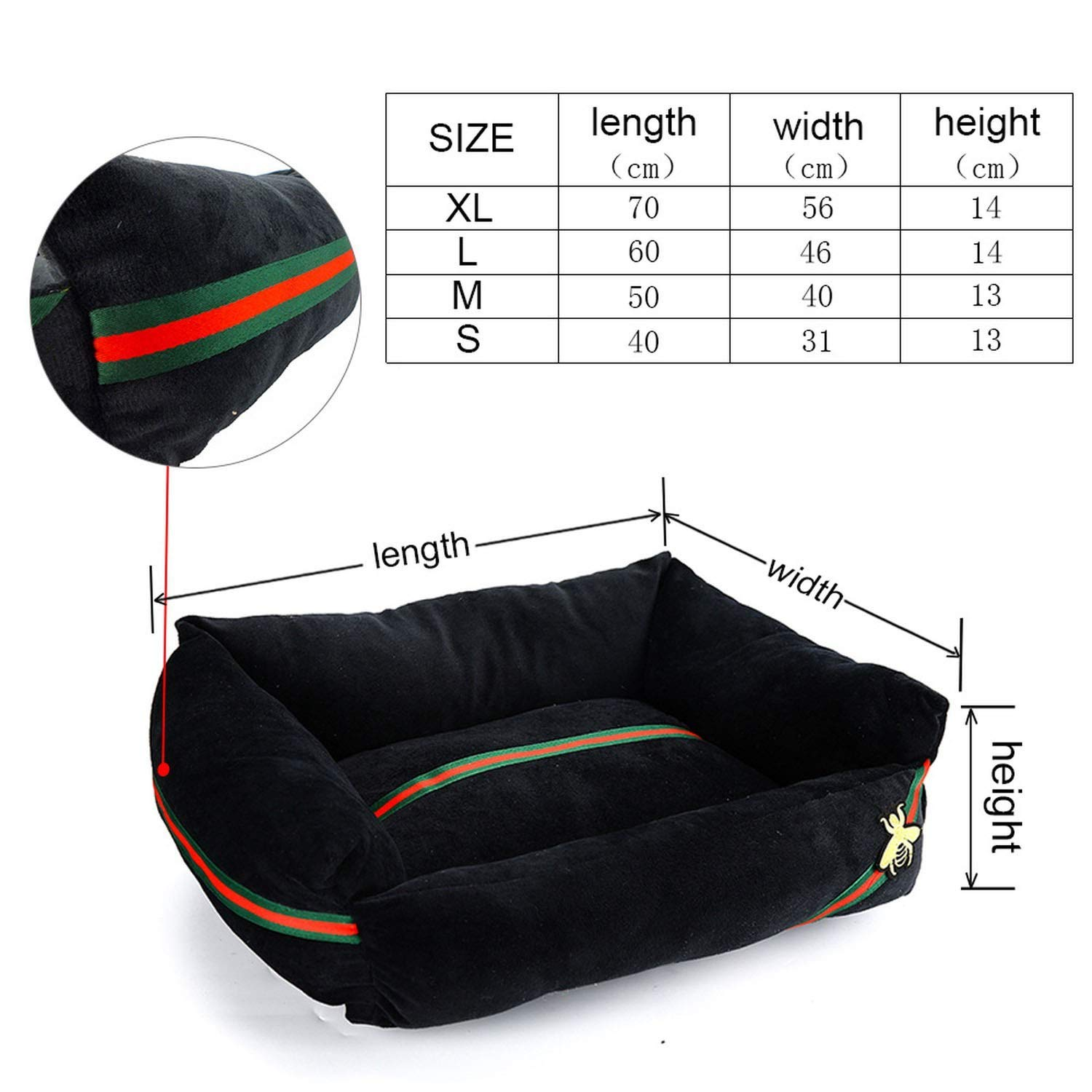 Black M As Picture Black M As Picture Beds for Dogs Bed Cats Cotton Breathable Dog Sofas House for Cats Dog Bed Hand Wash Bench for Small Large Dogs Bed Pets XR0002,Black,M