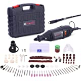 GOXAWEE Rotary Tool Kit with MultiPro Keyless Chuck and Flex Shaft - 140pcs Accessories Variable Speed Electric Drill Set for
