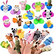 Easter Eggs Basket Stuffers with Mini Stuffed Animal Finger Puppets Plush Egg Surprise Toys, Kids Easter Party Favor School