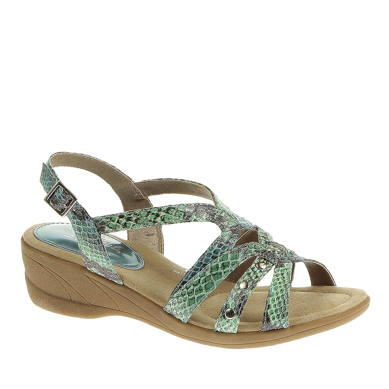 Soft Style Women's Taris Dress Sandal B00IN5P6MQ 7.5 EW|Blue / Green Pearlized Python