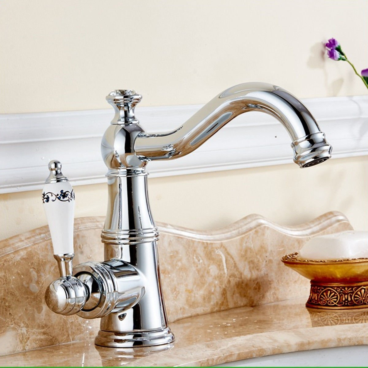 LHbox Basin Mixer Tap Bathroom Sink Faucet Euro-copper plated, chrome bathroom basin bathroom sink faucet swivel basin sink faucet hot and cold-water faucet
