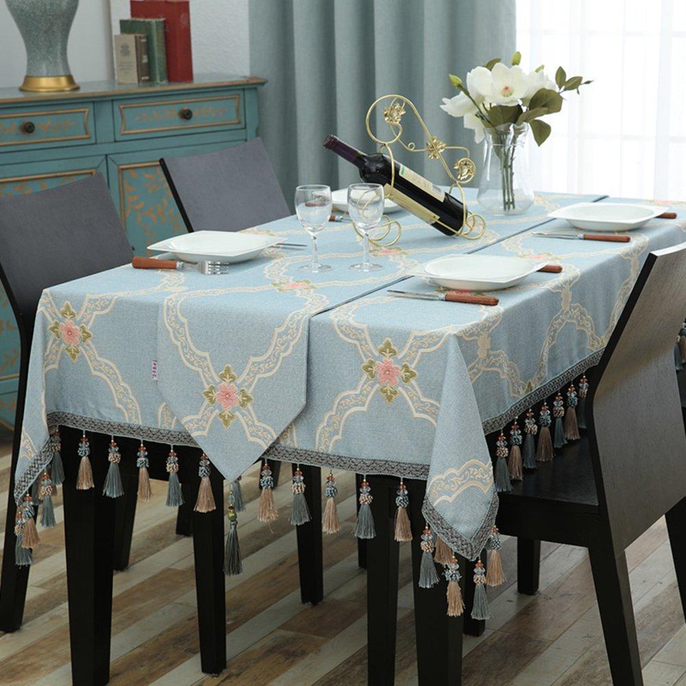 Bbdsj Mantel de casa High-end mesa tela Mantel azul En el oído Borla Rectángulo Cuadrados manteles Mantel azul-Azul 140x160cm(55x63inch)