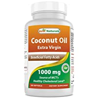 Best Naturals Extra Virgin Coconut Oil 1000 mg Softgel, 180 Count