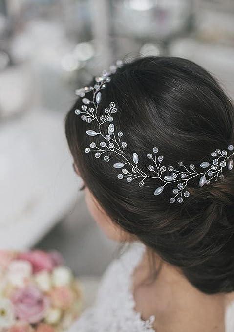Tocado de boda aukmla para dama de honor boda de cristal accesorios jpg  479x679 Amazon mujer 6e37fe9342c
