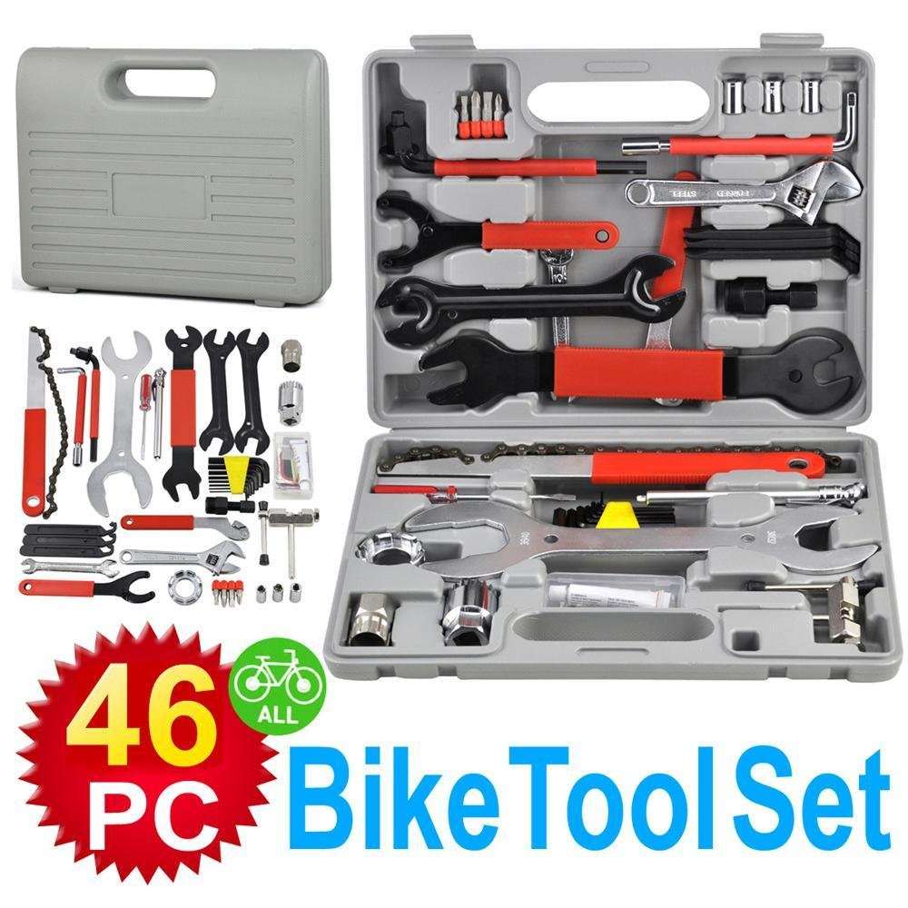 Popamazing 46pcs Bike Bicycle Cycle Hand Craft Wartung Reparatur Werkzeug Kit Set
