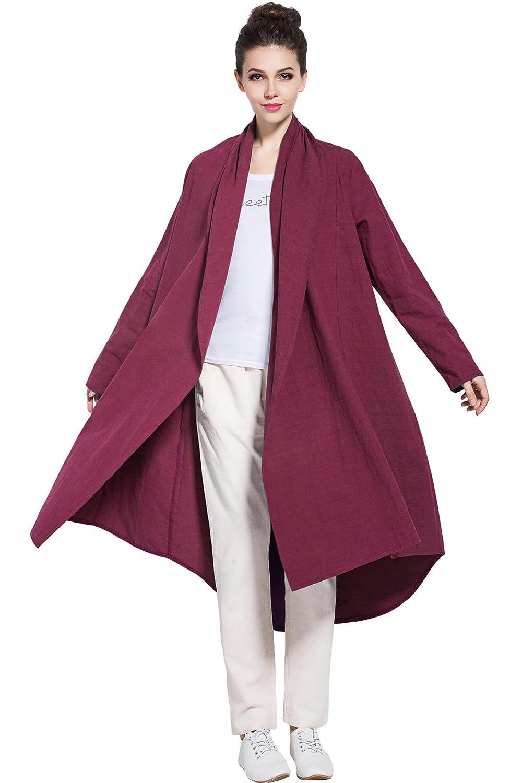 Burgundy Anysize Soft Linen Cotton Cardigan Spring Fall Winter Coat Plus Size Clothing Y80