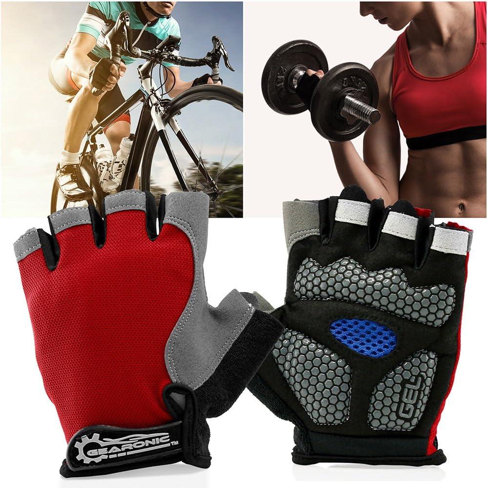 GEARONIC TM Cycling Half Finger Glove Mountain Bicycle Men Gloves Women Gel Pad Anti-Slip Breathable Outdoor Sports Shock-Absorbing Riding Biking Cycle