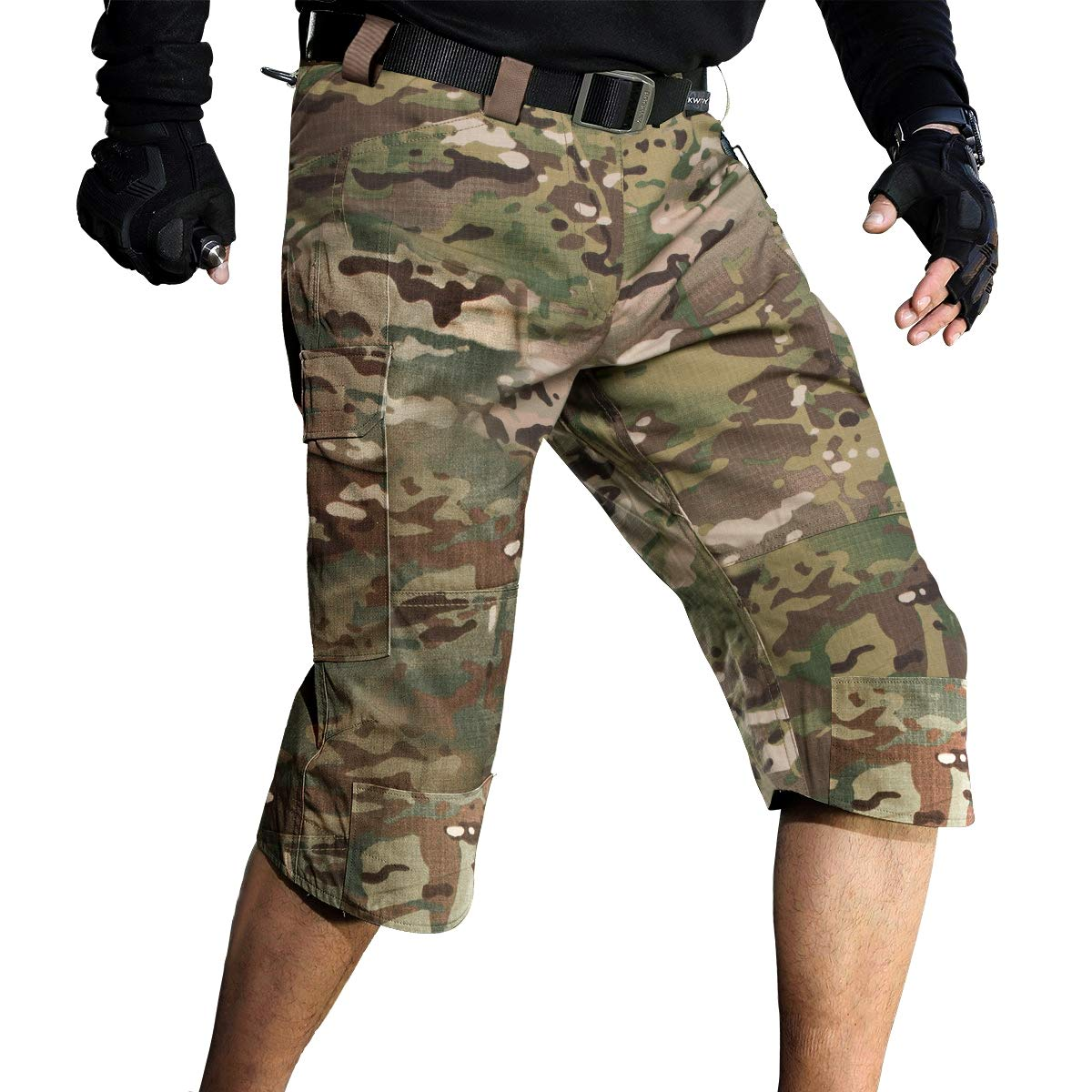 FREE SOLDIER Men's Capri Shorts Pants Casual 3/4 Water Resistant Multi Pockets Tactical Cargo Short (CP Camouflage W32)