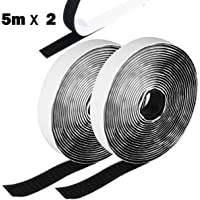 Hook and Loop Tape Self Adhesive Sticky Tape Heavy Duty Hook Loop Tape Reusable Double Sided Sticky Tape Roll Hobby    Handicraft / Art material    Sewing material    Hook-and-loop fastener Grocery Black/White (5M) (Black)