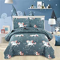 3-Pieces Jessy Home Unicorn Bedding Queen/Full Size Kids Quilt Set