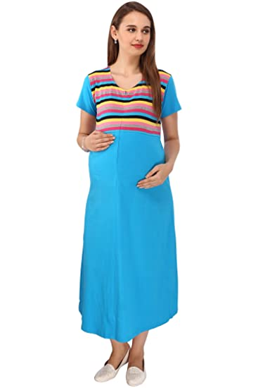 d00d4ffce49 VIXENWRAP Dark Blue Striped Maternity Dress  Amazon.in  Clothing ...