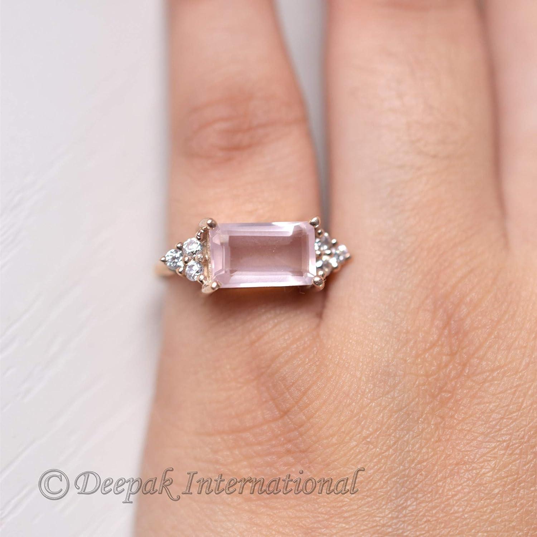 30cts Wonderful Ring Rose Quartz Gemstone 925 Silver Plated Jewelry Size 9.5