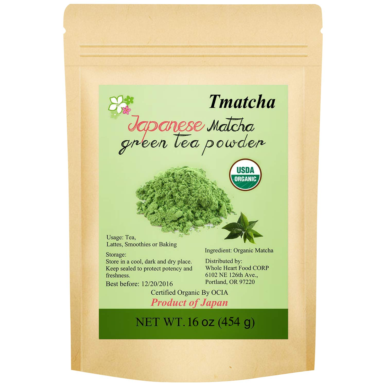 Tmatcha Matcha Green Tea Powder 16oz- USDA Organic - Japanese Matcha - Culinary Grade Matcha Powder 454g
