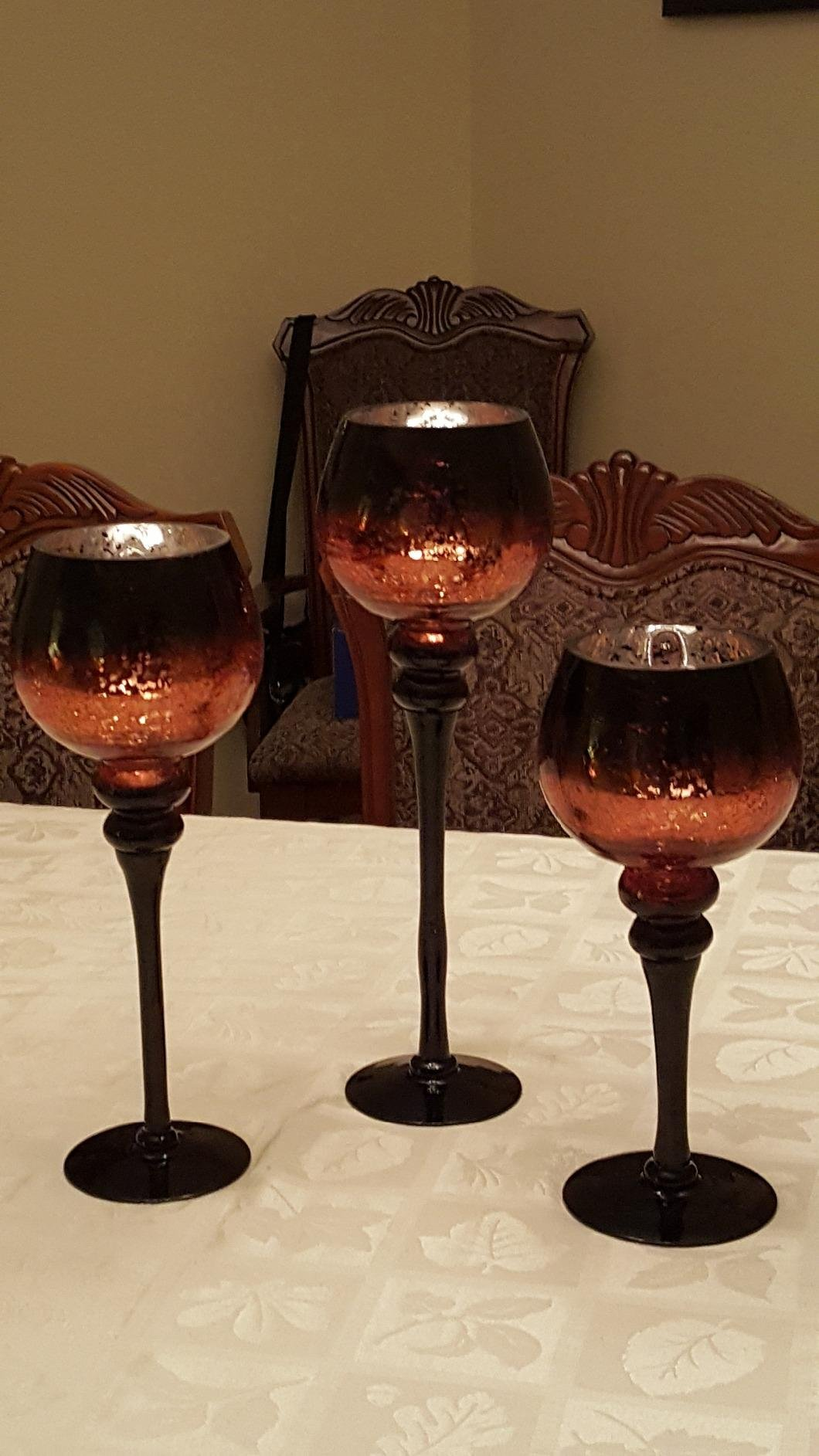 Set of 3 Brown Mercury Chocolate Crackle Finished Glass Hurricane Candle Holders ~ Decorative Sphere Ball Candle Holders ~ Home Decor & Party Centerpiece by Le'raze (Image #5)