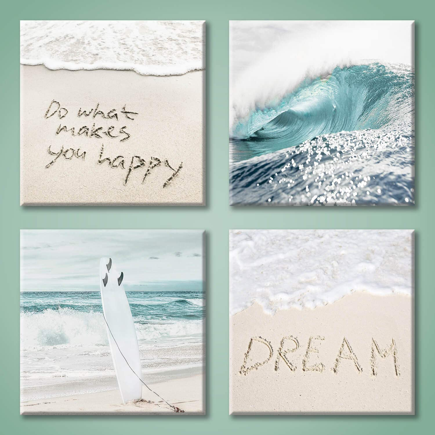 "Beach Artwork Coastal Wall Art: Crashing Wave & Surfboard Painting with Words on Sand Picture Prints on Canvas for Bedroom (12"" x 12"" x 4 Panels)"