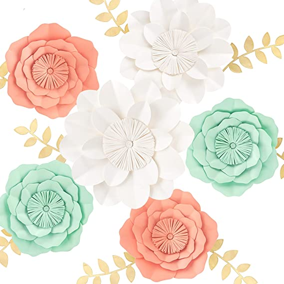 Mint Coral White Set Of 6 For Wedding Backdrop Bridal Shower Table Centerpieces Nursery Wall Decor