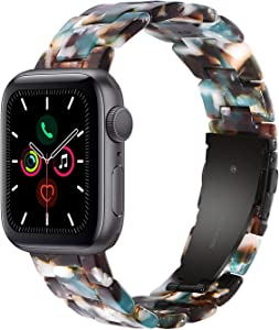 Wongeto Resin Strap Compatible with Apple Watch Band 38mm 40mm Series SE/6/5/4/3/2/1 Women Men with Stainless Steel Buckle, iWatch Replacement Wristband Strap (Blue, 38mm/40mm)