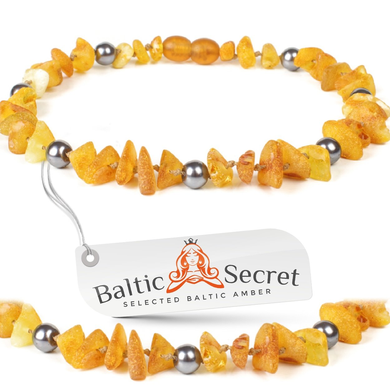 Amber Dog Collar X Small / Amber Cat Collar, made of Premium Raw Baltic Amber Gems That are 50% Richer and More Effective / 7.9/20pGRY