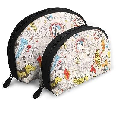 a8e083626e5f Amazon.com: Boom Text Art Painting Cosmetic Bag - 2 Piece Set Makeup ...