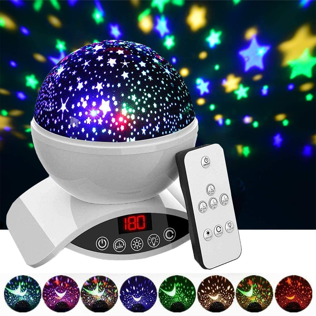 Aisuo Night Light, Rechargeable Star Lighting Lamp with Timer Design, Remote Control & Rotating, Color Changing, Room Decor. (White)