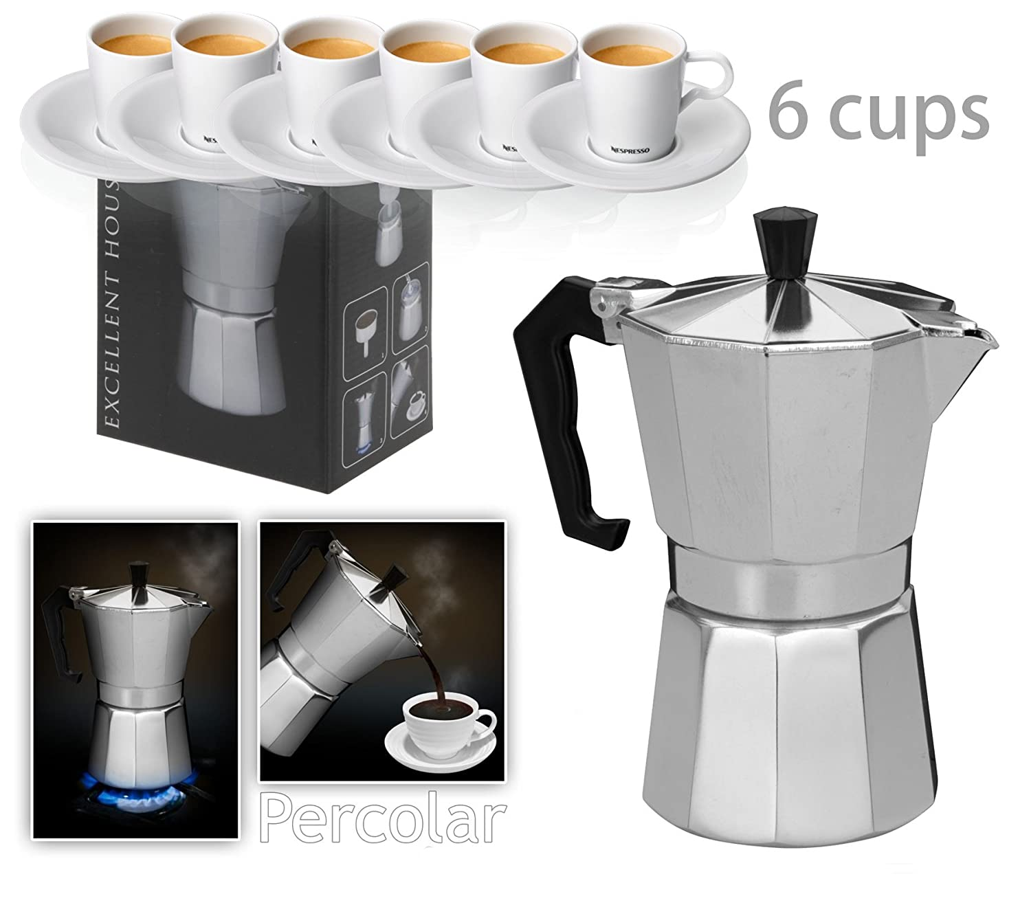 Italian Espresso Latte Cafetiere Coffee Maker 1 Cup 3 Cups 6 Cups Percolator (1 Cup) Innova Brands Ltd.